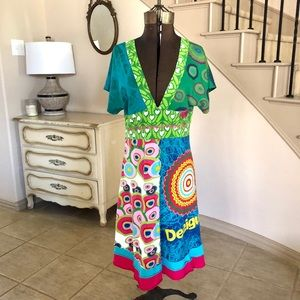 DESIGUAL Women's Midi Dress Colorful Size XL Art